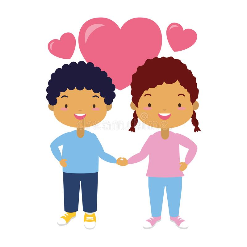 Happy kids with hearts stock illustration