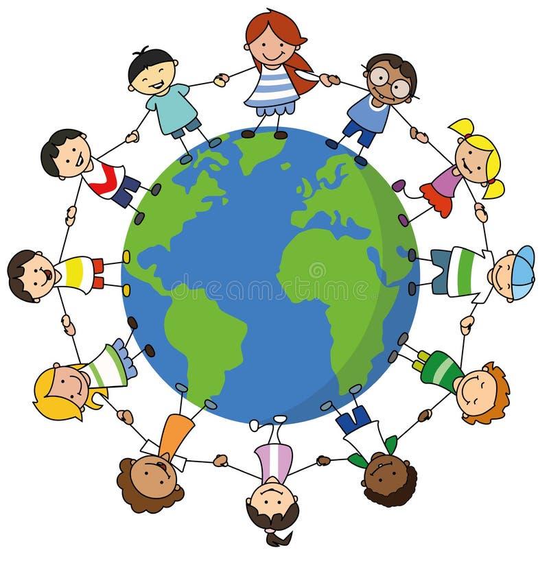 Happy kids holding hands on world illustration , children around the world stock illustration