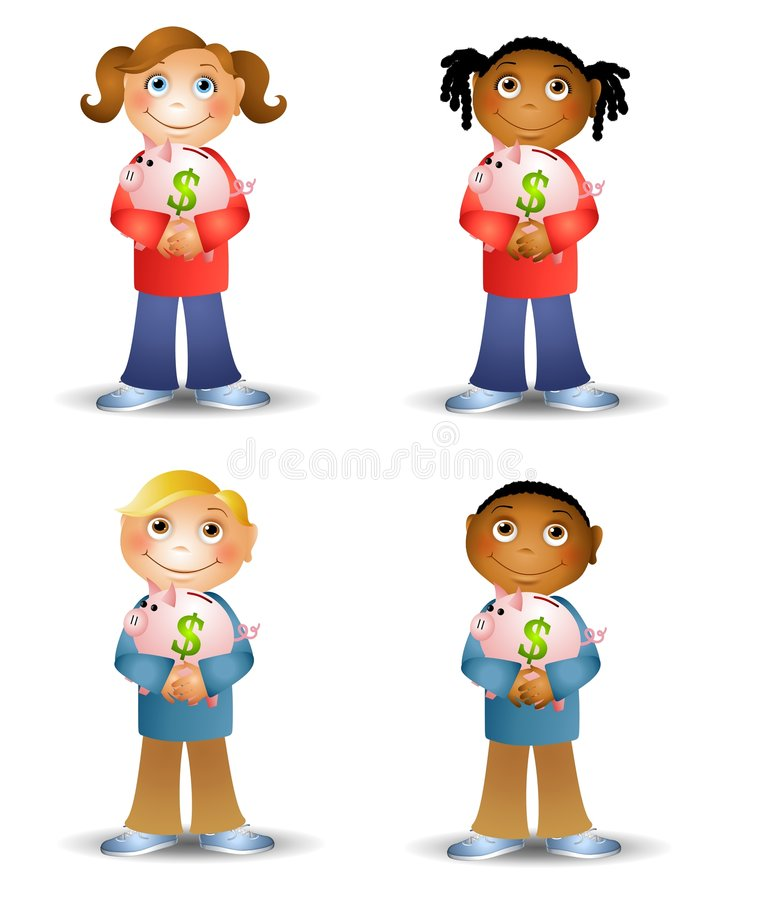 Happy Kids Holding Piggy Banks. An illustration featuring your choice of cartoon kids holding piggy banks and smiling stock illustration