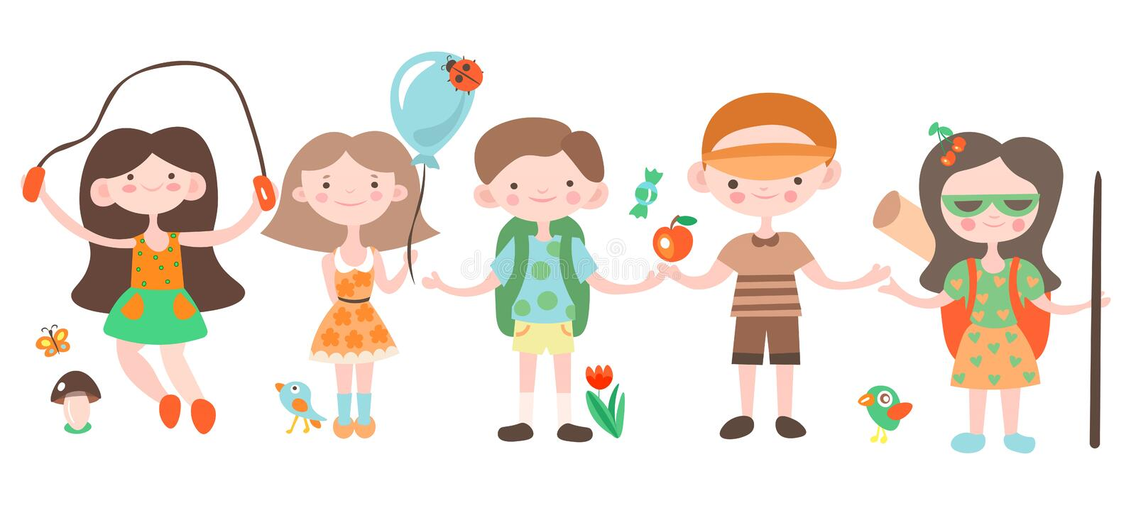Happy kids, holiday and camping playing with camp elements. Jouful children cartoon vector illustration, set of stock illustration