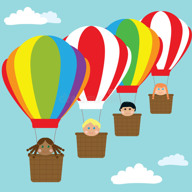 Download Happy Kids In Hot Air Balloons Stock Vector - Image: 20556128