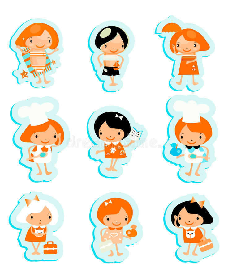 Download Happy Kids Icons Sticker Set Cook Study Relax Play Stock Illustration - Image: 14883308