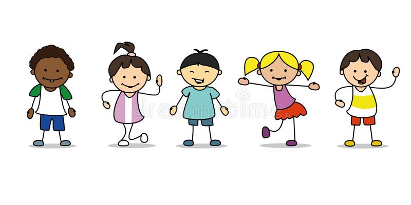 Happy kids illustration playing and dancing children, vector royalty free illustration