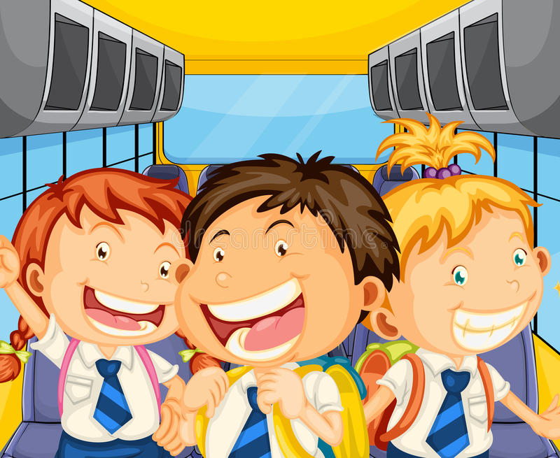 Happy kids inside the schoolbus royalty free illustration