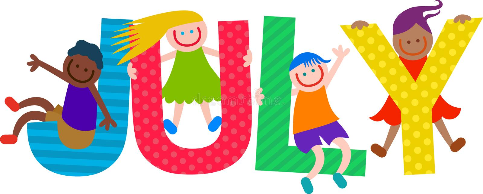 Happy Kids July Text royalty free illustration