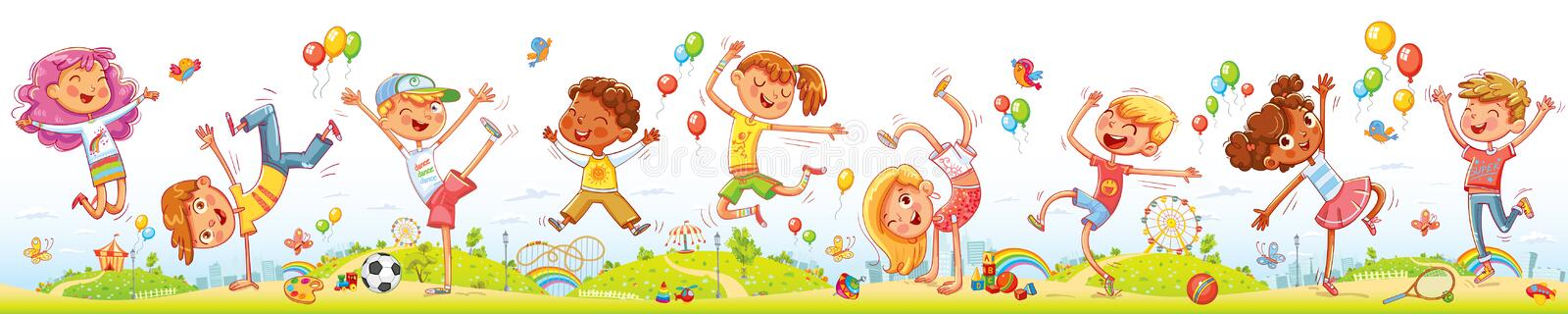 Happy kids jumping and dancing together on the entertainment amusement park. Happy kids jumping and dancing together on the background of entertainment amusement vector illustration