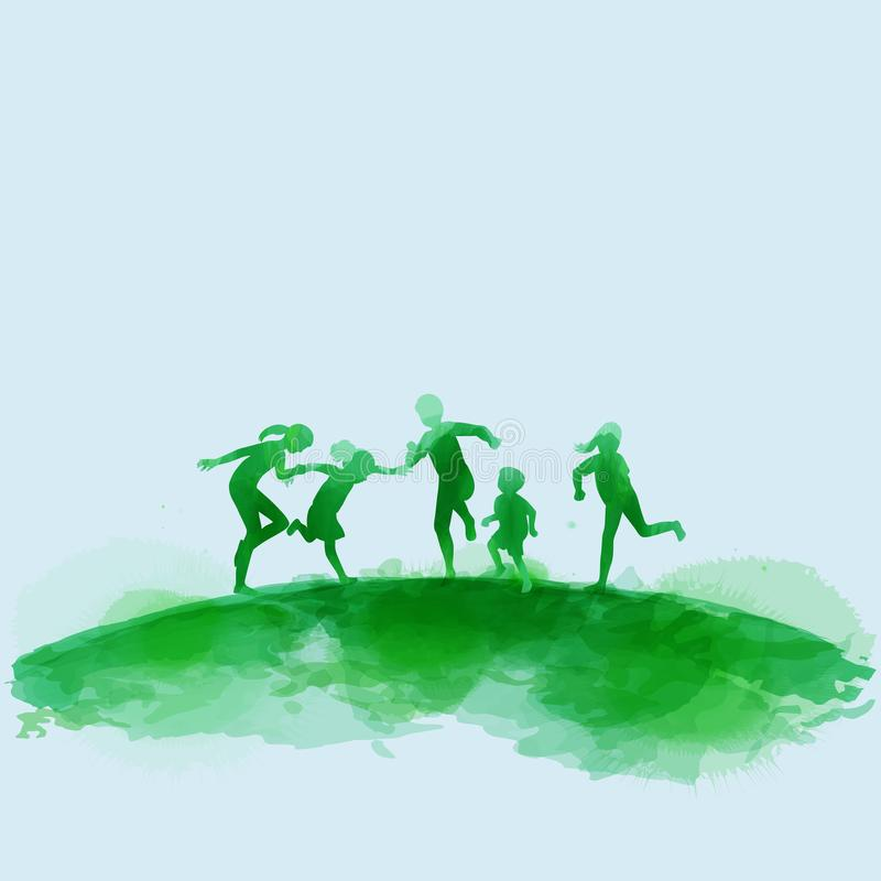 Happy kids jumping together . Happy children`s day. Watercolor style.  stock illustration