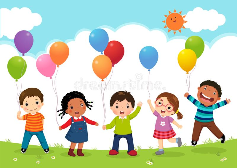 Happy kids jumping together and holding balloons royalty free illustration