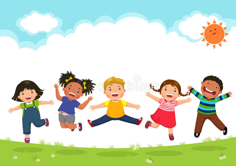 Happy kids jumping together during a sunny day royalty free illustration