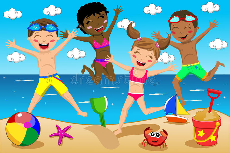 Download Happy Kids Kid Swimsuit Jumping Isolated Stock Vector - Image: 42118298