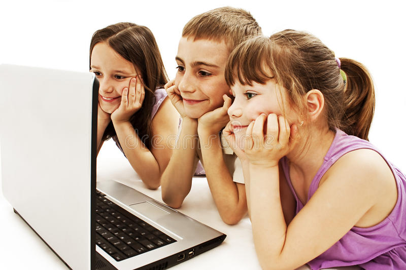 Happy Kids With Laptop Computer Stock Photos