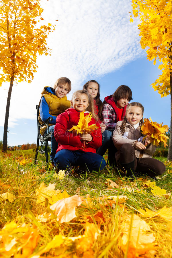 Download Happy Kids Like Autumn Stock Photo - Image: 35575180