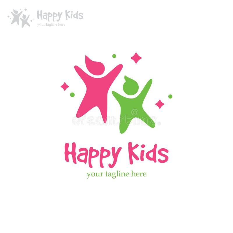 Happy kids logo royalty free illustration
