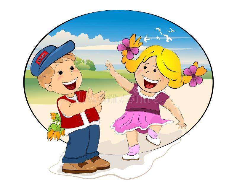 Happy kids meeting royalty free illustration