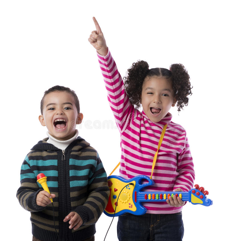 Happy Kids Music Band. Isolated on White Background royalty free stock photo