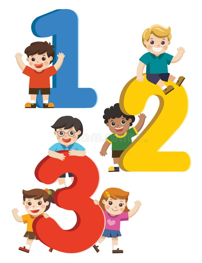 Happy kids with Numbers. Happy kids with 123 Numbers royalty free illustration