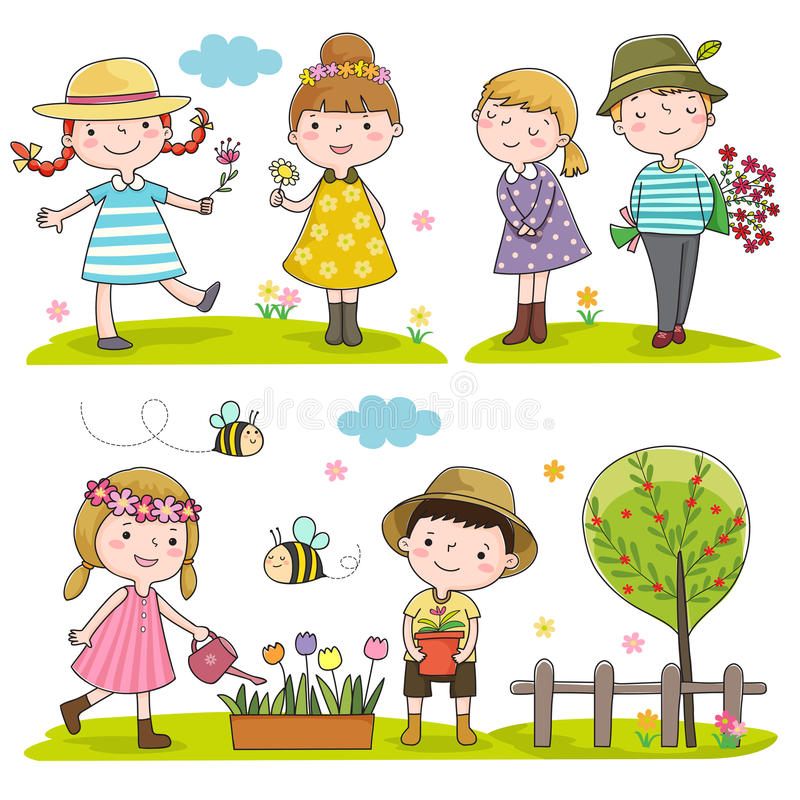 Download Happy Kids Outdoor In Spring Season Stock Vector - Illustration of group, colorful: 66445353