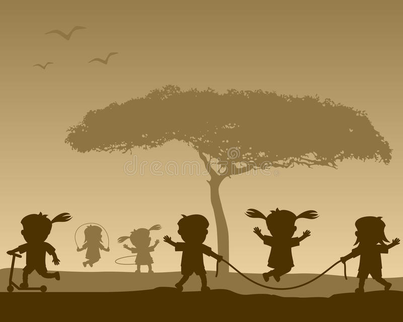 Download Happy Kids At The Park Silhouettes Stock Vector - Illustration: 36235918