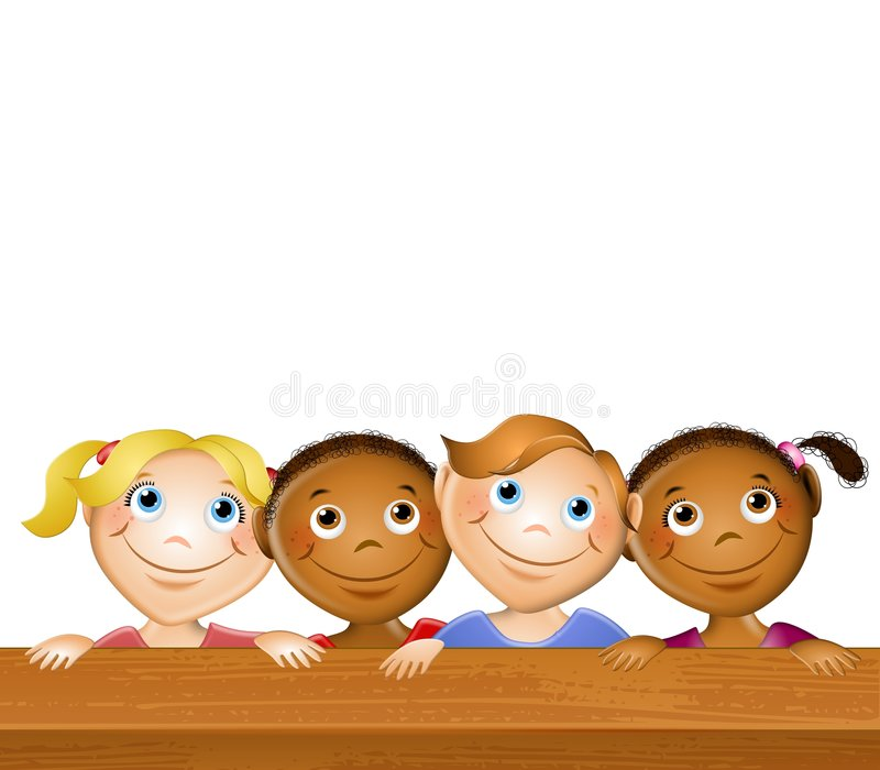 Happy Kids at Picnic Table stock illustration