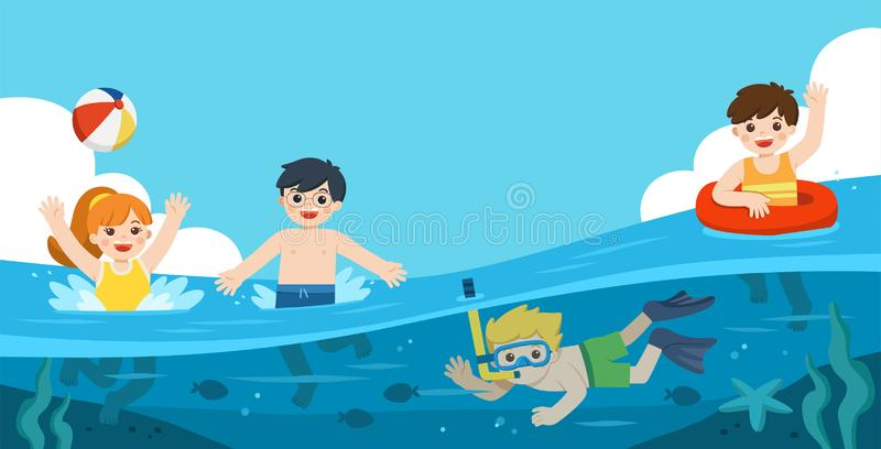 Happy kids play and swim in the sea. A Little boy diving with fish under the ocean. Kids having fun outdoors. royalty free illustration