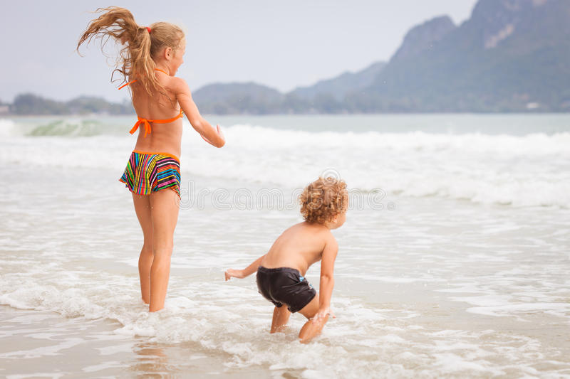 Download Happy Kids Playing On Beach Stock Image - Image: 41572755
