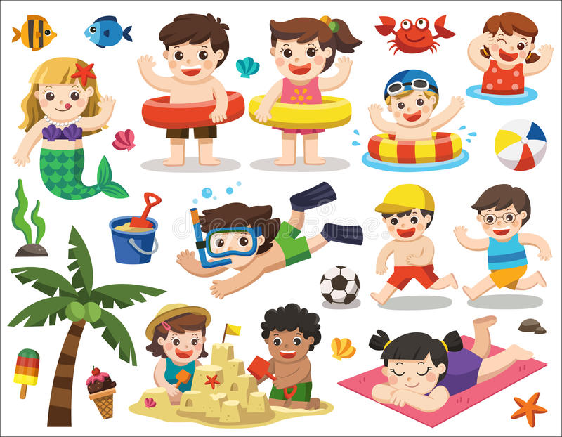 Happy kids playing on the beach and swimming. Set vector design element for summer season. Happy kids playing on the beach and swimming. Let`s enjoy summer royalty free illustration