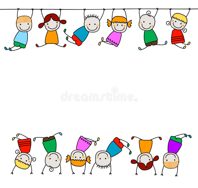 Happy kids playing. Group of happy kids playing royalty free illustration