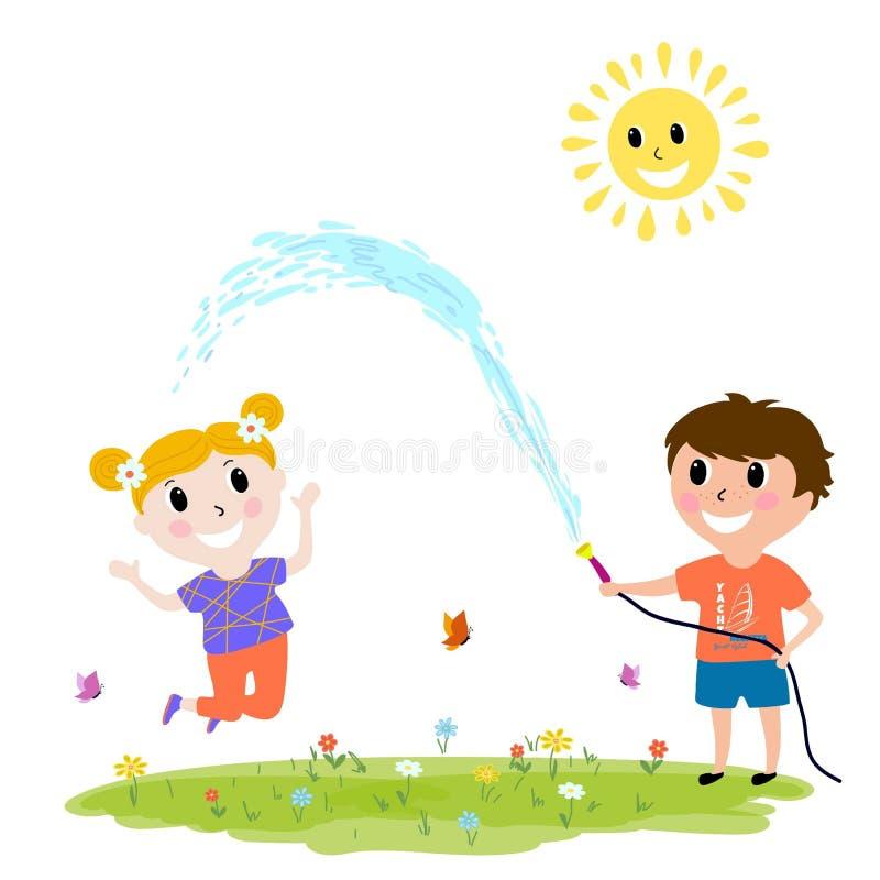 Free Happy Kids Playing Outdoors, Boy Hosing, Cartoon Design Stock Images - 162938294
