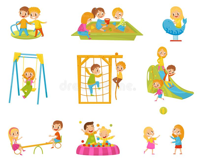 Happy kids playing outdoors set, children on a playground vector Illustrations on a white background stock illustration