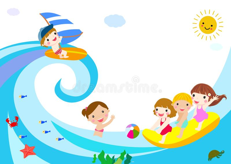 Happy kids playing in summer vector illustration