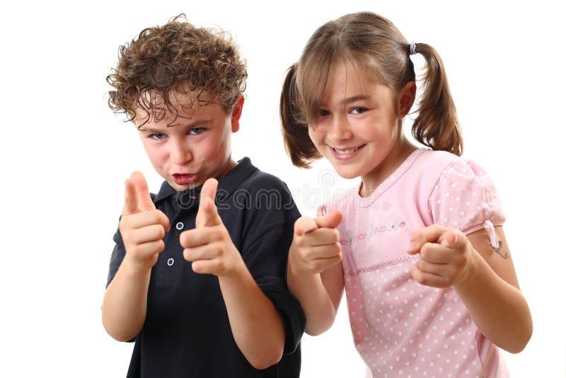Happy Kids Pointing Stock Photo