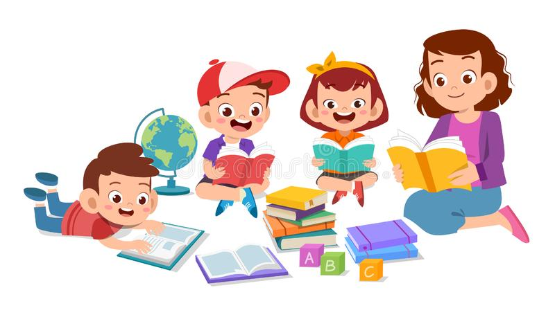 Kids Read Stock Illustrations 6 483 Kids Read Stock