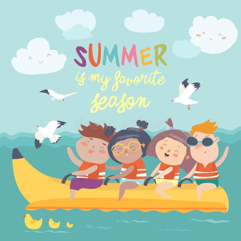 Happy kids riding a banana boat stock illustration
