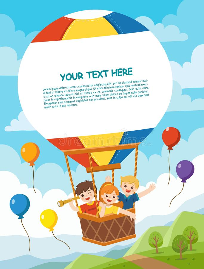 Happy Kids riding hot air balloon. vector illustration