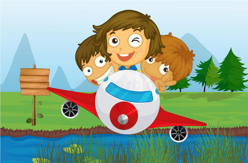 Happy kids riding on a plane stock illustration