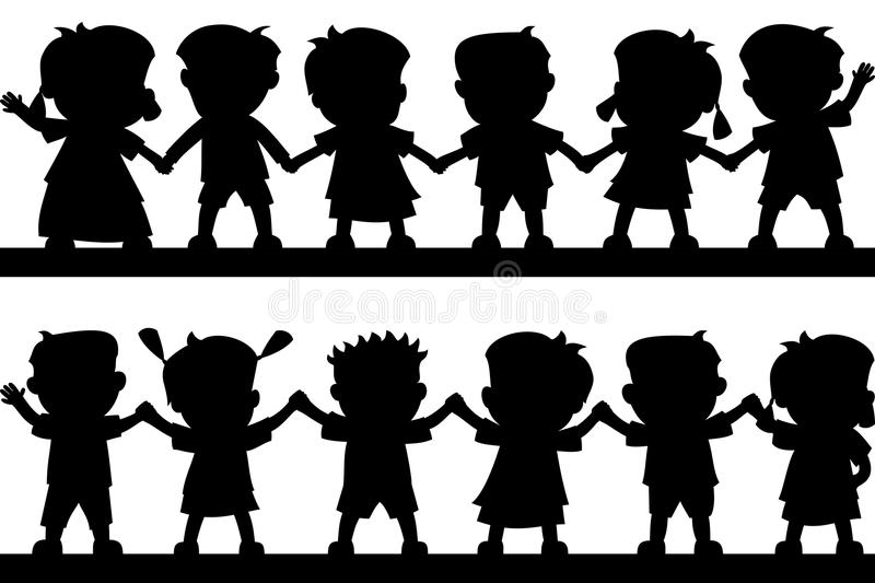 Happy Kids Silhouettes. Silhouettes of two group of happy kids holding hands, isolated on white background. Eps file available