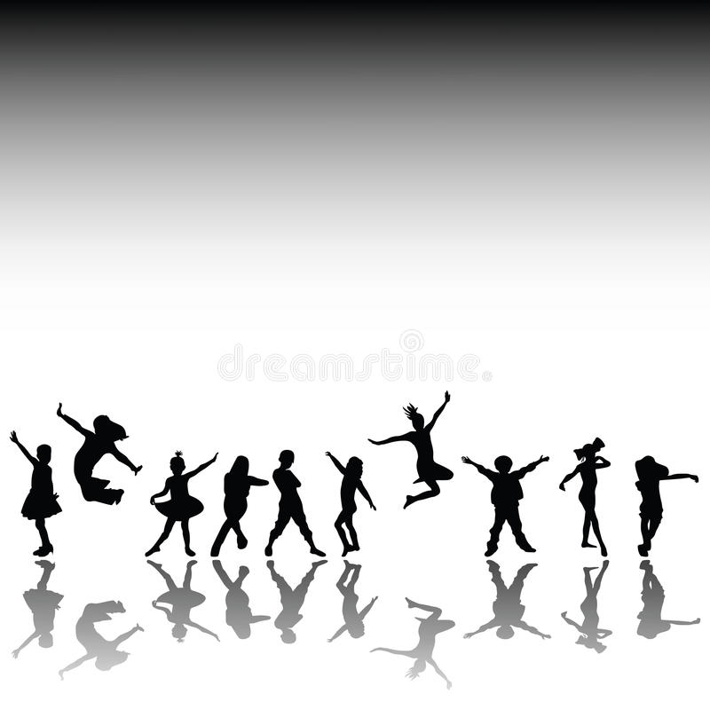 Happy kids silhouettes stock illustration