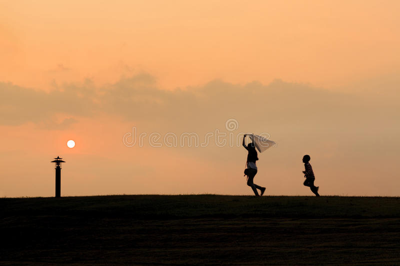 Download Happy Kids Silhouettes Royalty Free Stock Image - Image: 34477306