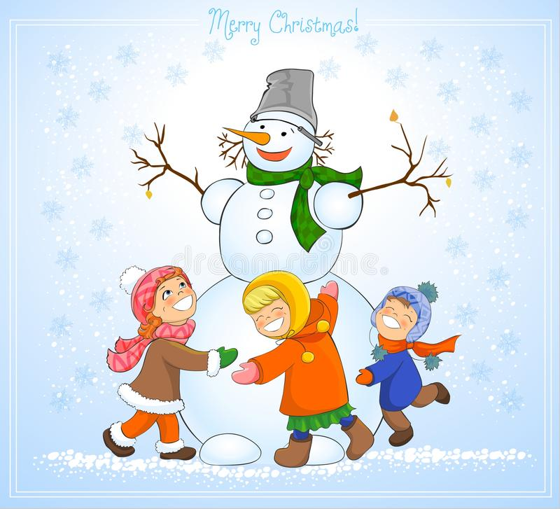 Happy kids and snowman celebrate Christmas. royalty free illustration