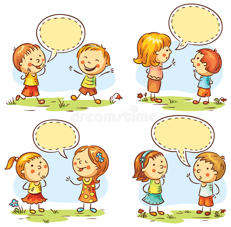 Happy kids talking and showing different emotions, set of four scenes with speech bubbles royalty free illustration