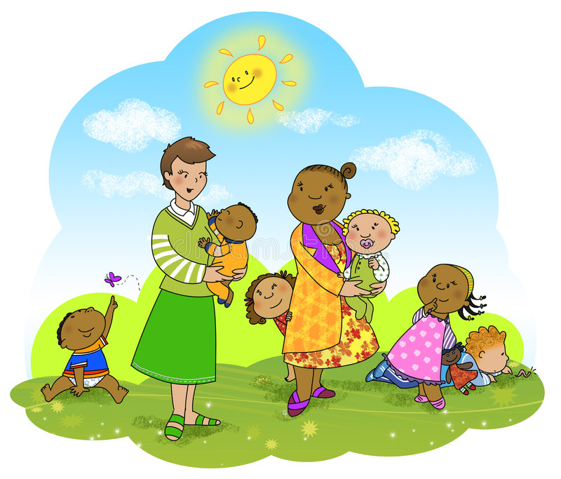 Happy kids and teachers stock illustration