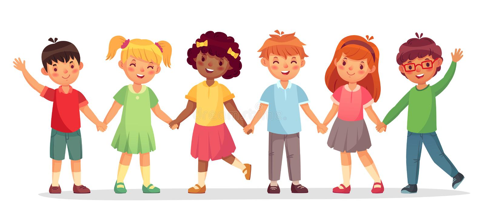 Happy kids team. Multinational childrens, school girls and boys stand together holding hands isolated vector stock illustration