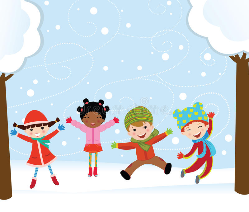 Download Happy kids in winter stock vector. Image of cool, colorful - 17276164