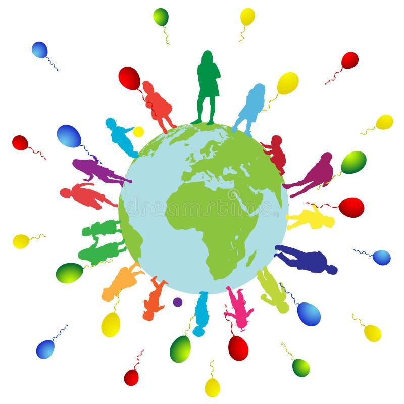 Happy Kids And World Stock Photo