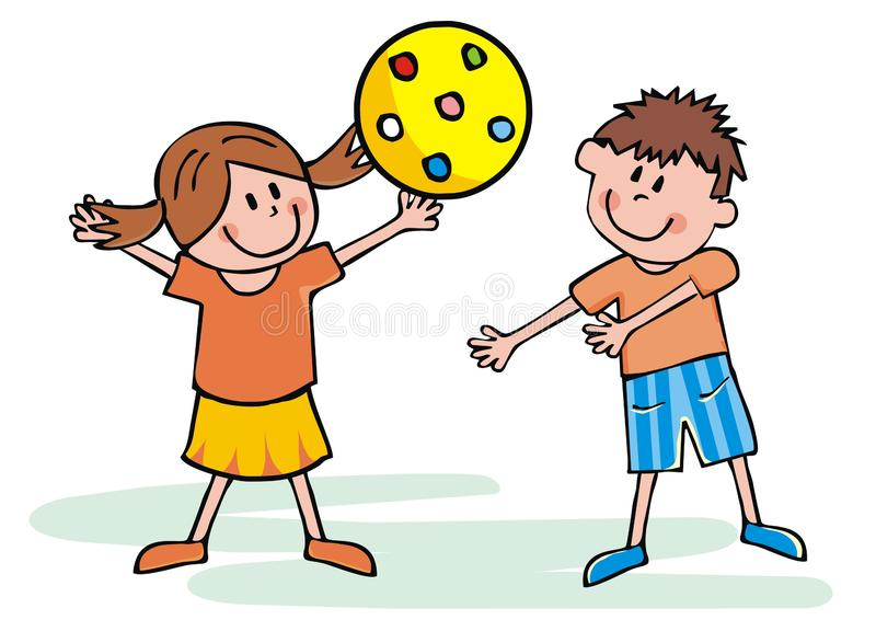 Happy kids with yellow ball, vector illustration stock illustration