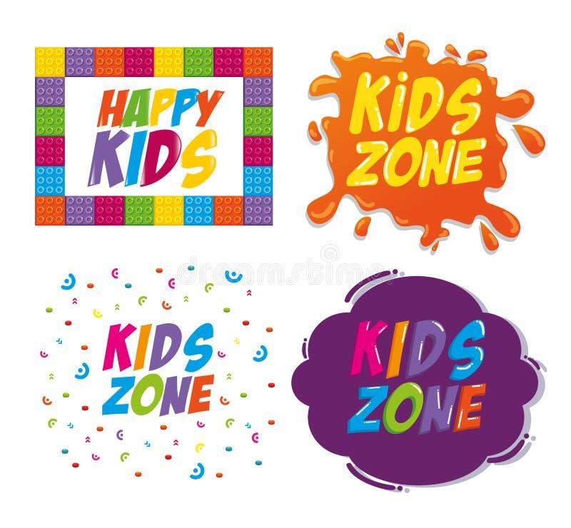 Happy kids zone labels vector illustration