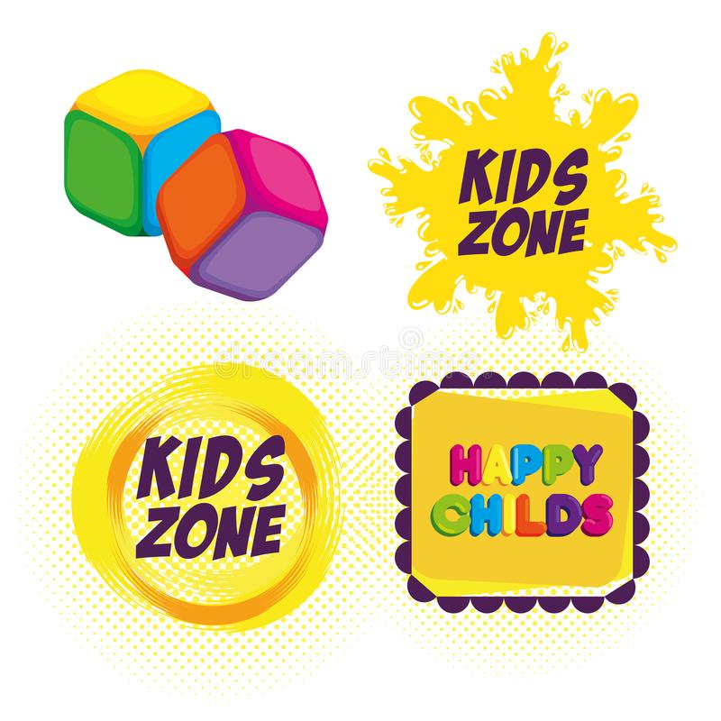 Happy kids zone labels royalty free illustration