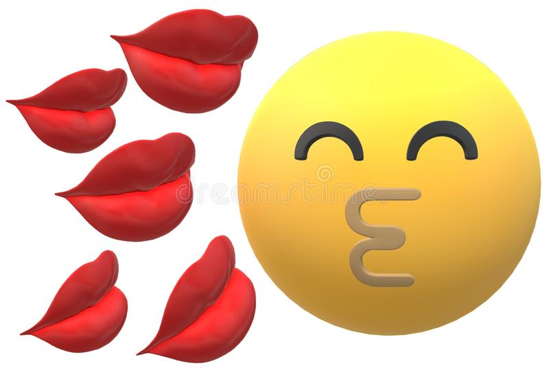 Happy kiss yellow emoticon on the right and some red lips on the left vector illustration