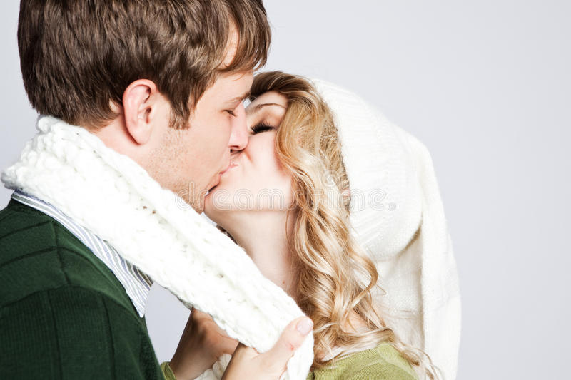 Happy Kissing Couple Stock Photography