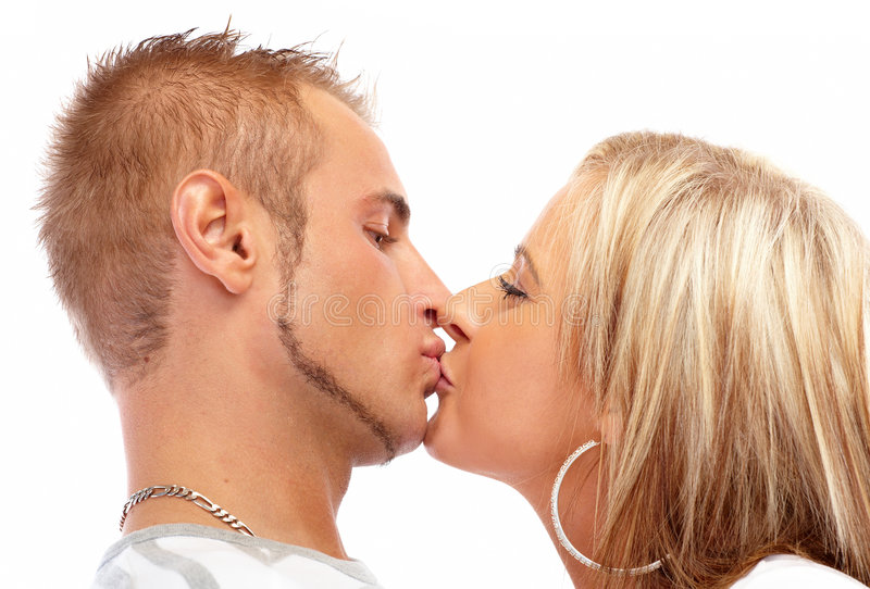 Happy kissing couple royalty free stock images